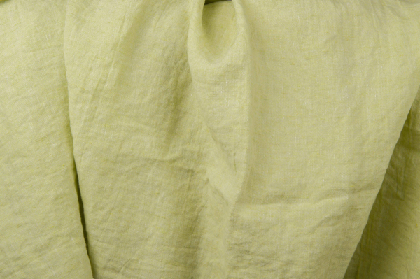 Pale green washed linen fabric 1