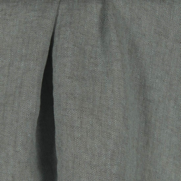 Greenish grey twill weave linen fabric, washed 1