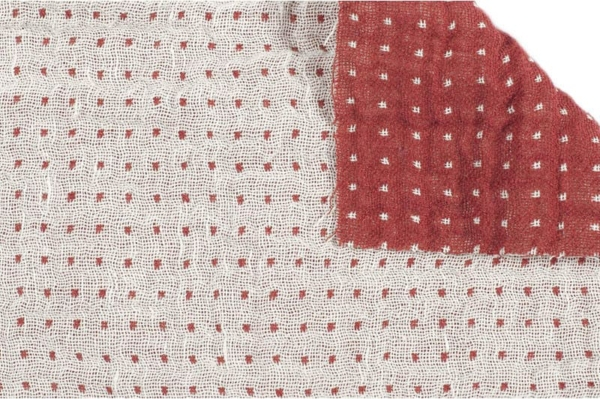 Double sided linen / cotton fabric in red and white 1