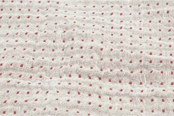 Double sided linen / cotton fabric in red and white 2