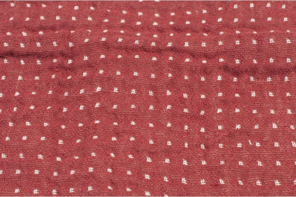 Double sided linen / cotton fabric in red and white 3