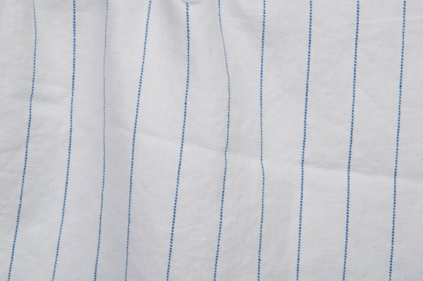 White washed fabric with blue stripes 1