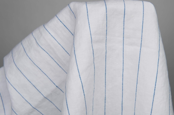 White washed fabric with blue stripes 2