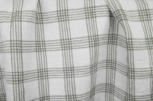 White washed linen / cotton checked fabric 1