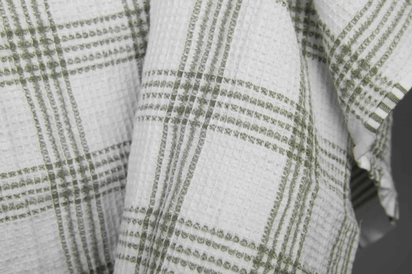 White washed linen / cotton checked fabric 2