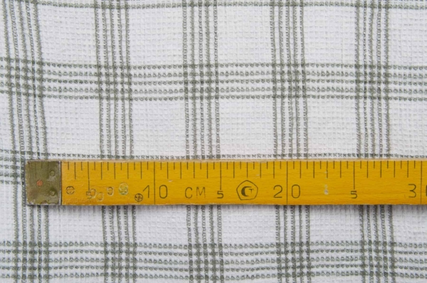 White washed linen / cotton checked fabric 3