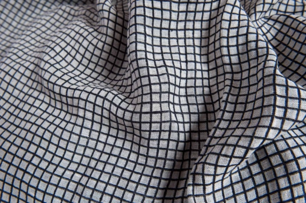 Half-linen fabric in black and white checks, washed 2