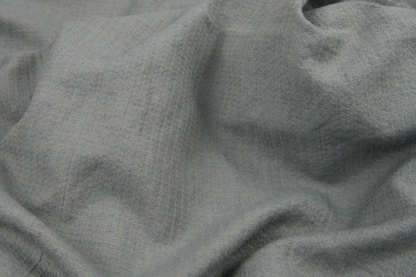 Light blue grey patterned linen / cotton fabric, washed 1