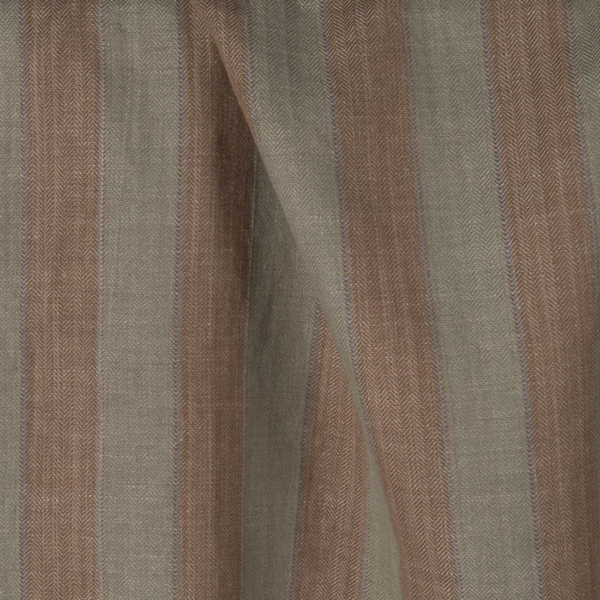 Linen cotton fabric in brown, grey stripes, washed 1