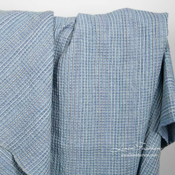 Blue waffle linen fabric by the yard or meter
