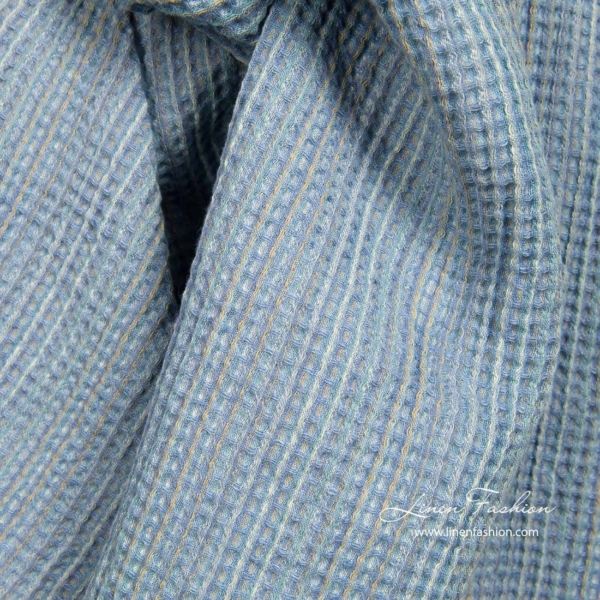 Blue waffle linen blend fabric for bath and sauna items