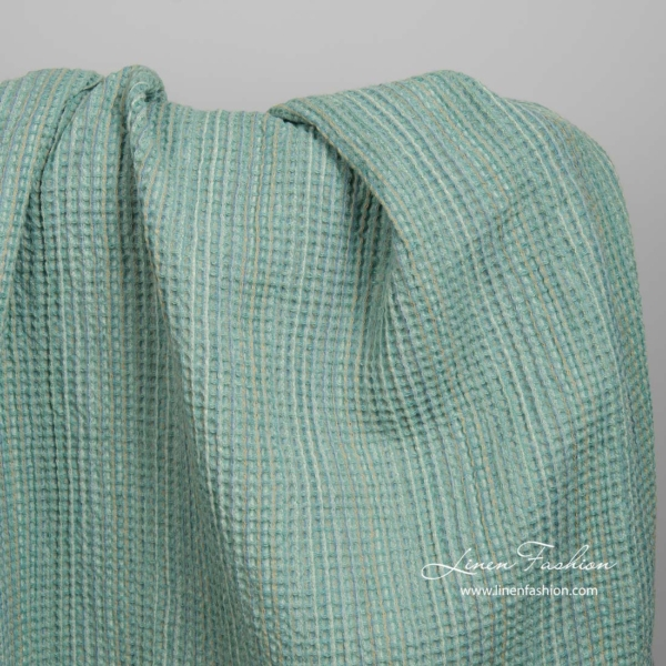 Washed green linen cotton waffle weave fabric 1