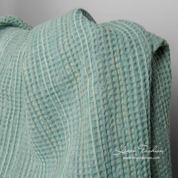 Washed green linen cotton waffle weave fabric 2