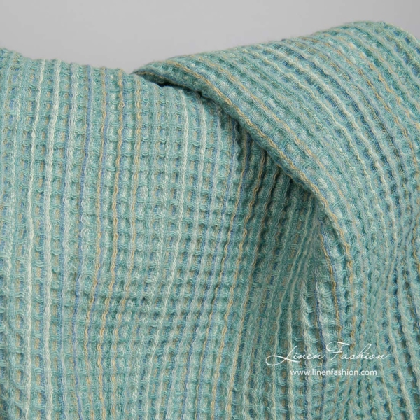 Washed green linen cotton waffle weave fabric 3