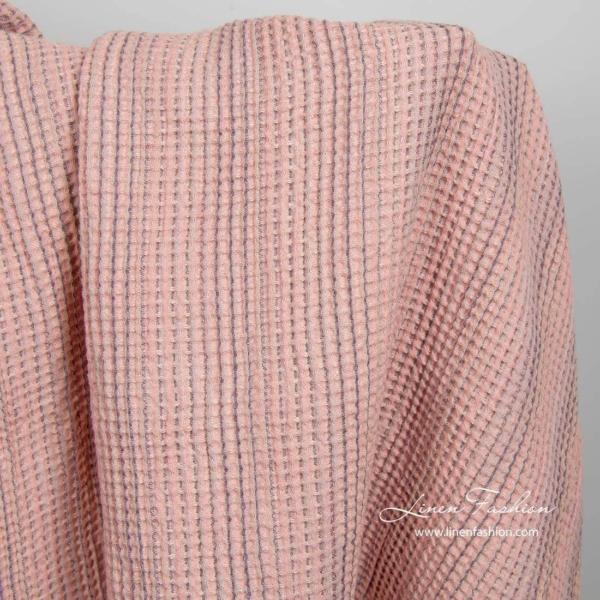 Washed pink linen cotton waffle weave fabric 1
