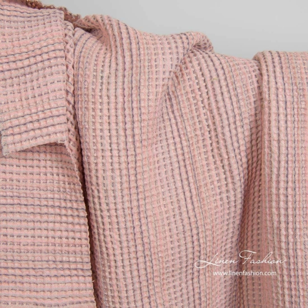 Washed pink linen cotton waffle weave fabric 2