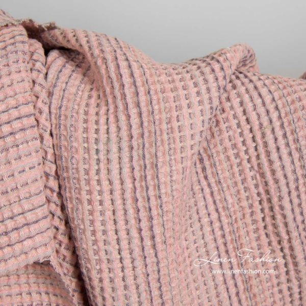 Washed pink linen cotton waffle weave fabric 3