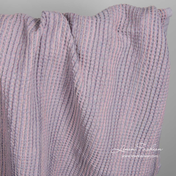 Washed linen cotton lilac fabric 1