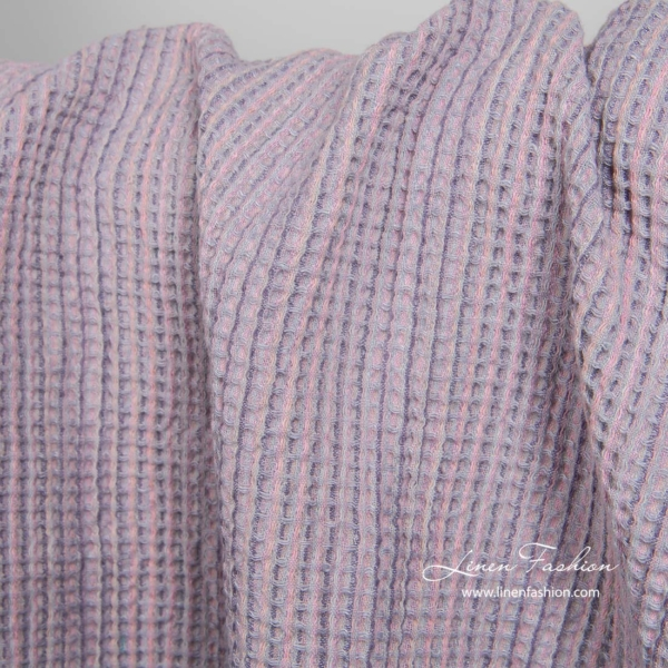 Washed linen cotton lilac fabric 2