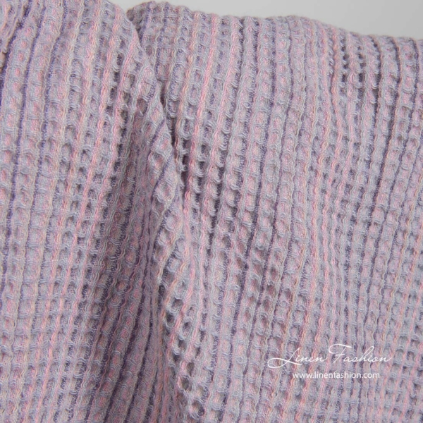 Washed linen cotton lilac fabric 3
