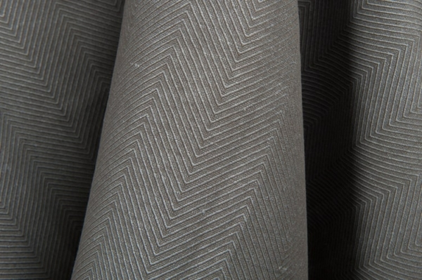 Dark grey linen / cotton fabric in a herringbone pattern 1