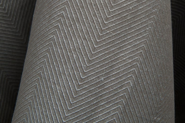 Dark grey linen / cotton fabric in a herringbone pattern 2