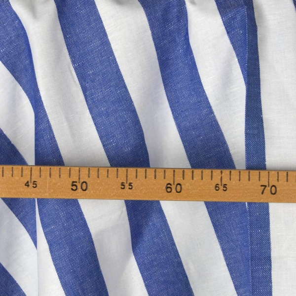 Linen cotton fabric in white and blue stripes 2