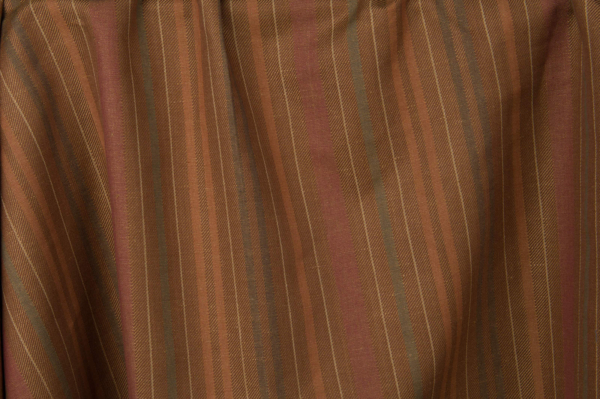 Brown linen cotton fabric with stripes 1