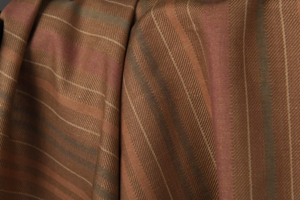 Brown linen cotton fabric with stripes 2
