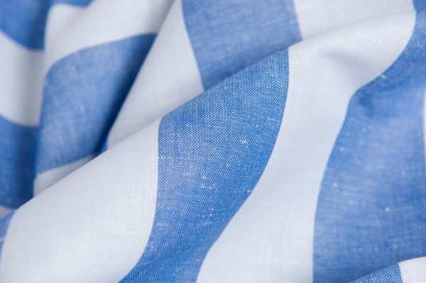 Linen blend fabric with white and blue stripes 2