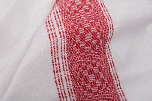White checked linen / cotton fabric with red stripe 1