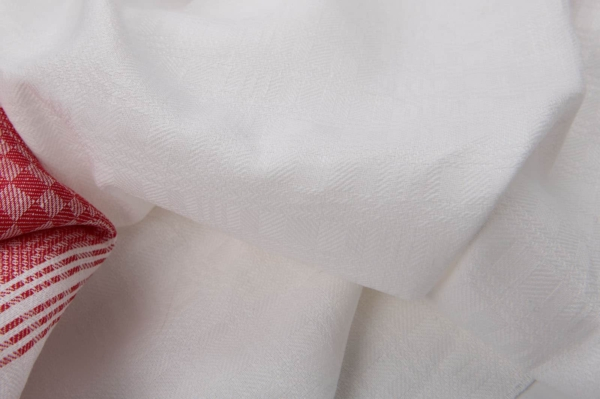 White checked linen / cotton fabric with red stripe 2
