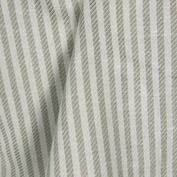 Linen cotton fabric with off-white and grey stripes 1