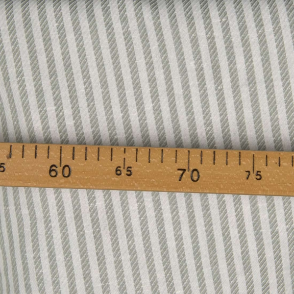 Linen cotton fabric with off-white and grey stripes 2
