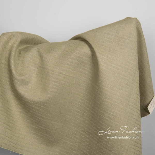 Green linen cotton fabric in wave pattern 1