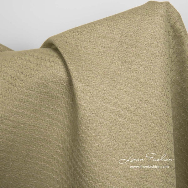 Green linen cotton fabric in wave pattern 2