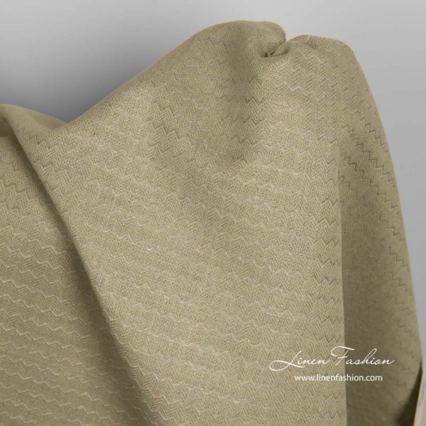 Green linen cotton fabric in wave pattern 3