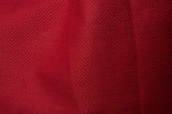 Red patterned linen blend fabric 1