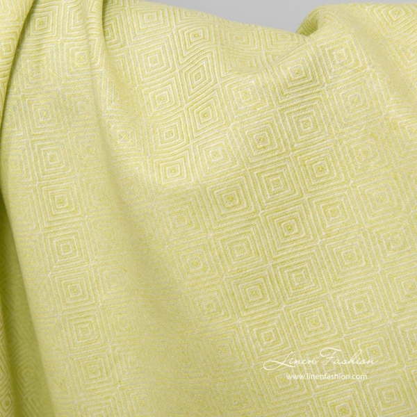 Linen cotton diamond pattern fabric in salad green color 2