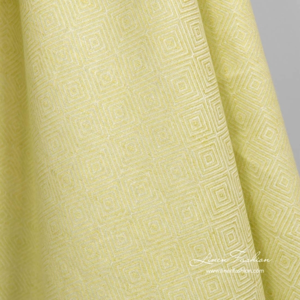 Linen cotton diamond pattern fabric in salad green color 3