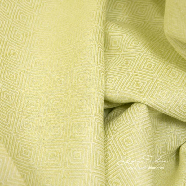Linen cotton diamond pattern fabric in salad green color 4