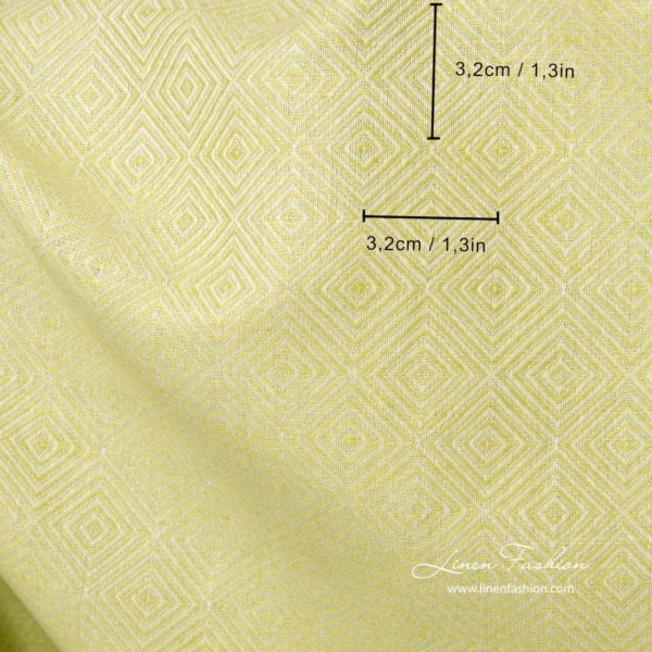 Linen cotton diamond pattern fabric in salad green color 5