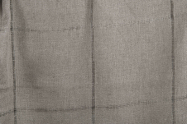 Grey linen fabric with large checks 1