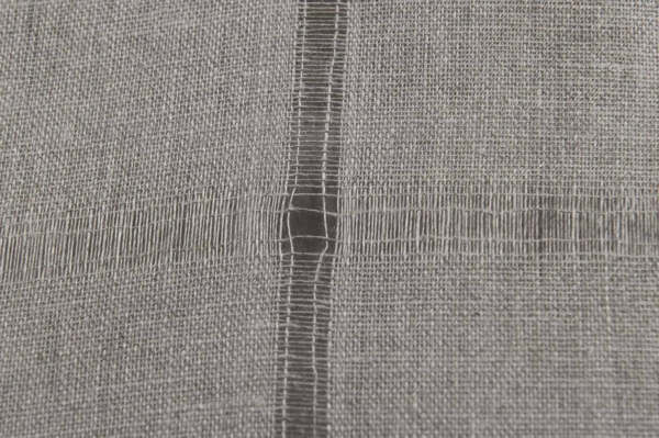 Grey linen fabric with large checks 2