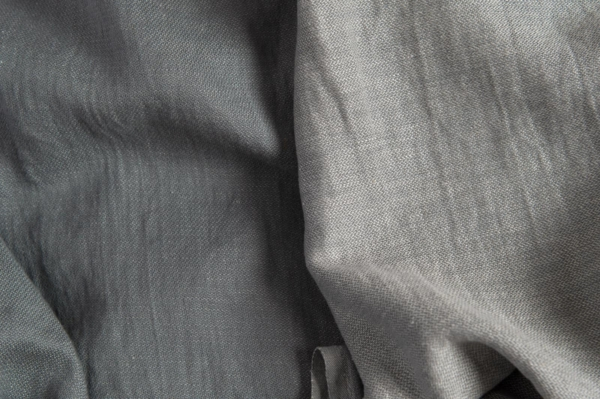 Linen blend grey double-sided fabric, washed 1