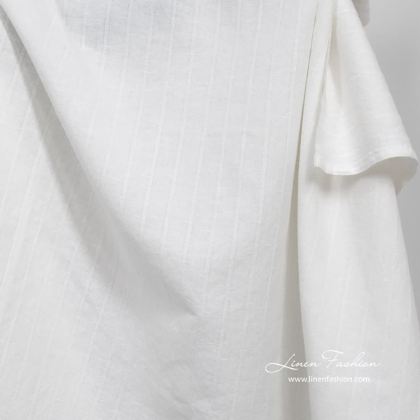 White washed linen cotton fabric 1