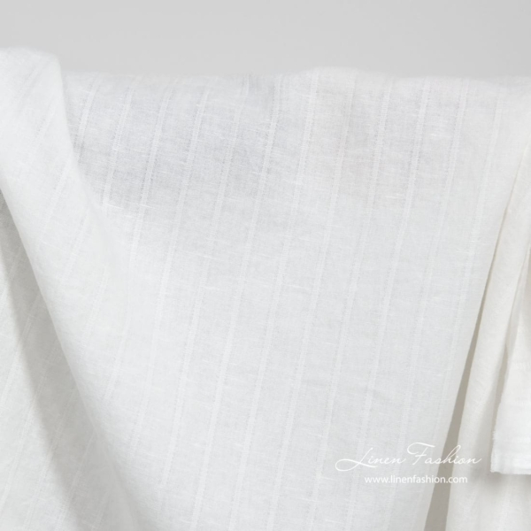 White washed linen cotton fabric 2