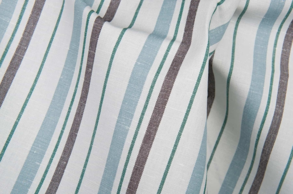 White fabric with blue, green and brown stripes 1