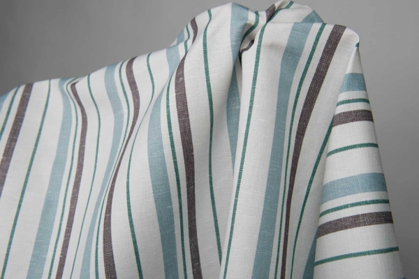 White fabric with blue, green and brown stripes 2