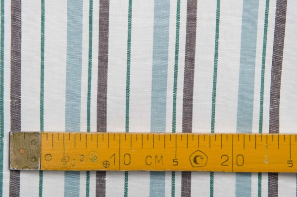 White fabric with blue, green and brown stripes 3
